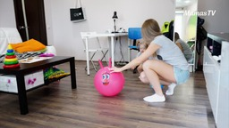Developing Kid Using Simple Exercises with a Ball