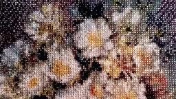 Белые цветы в глиняном кувшине